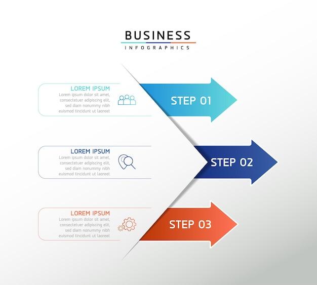 Gráfico de apresentação de informações de negócios de modelo de design de infográficos de ilustração vetorial com 5 o