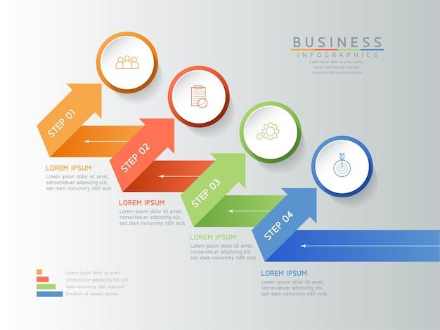 Gráfico de apresentação de informações de negócios, ilustração vetorial, modelo de design de infográficos 4 etapas