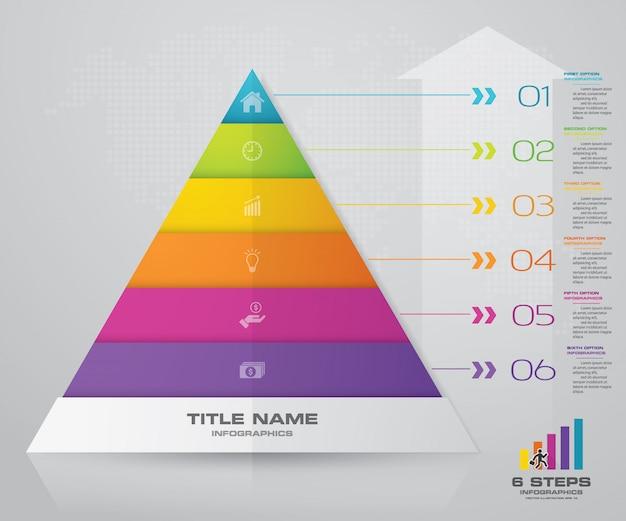 Gráfico de apresentação pirâmide de 6 etapas. eps10