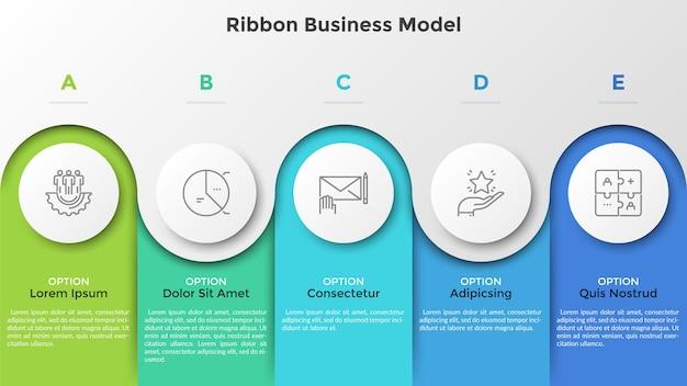 Gráfico de barras com 5 colunas coloridas e elementos redondos de papel branco. modelo de negócios da faixa de opções. cinco estágios de desenvolvimento do projeto. modelo de design moderno infográfico. ilustração vetorial para brochura.