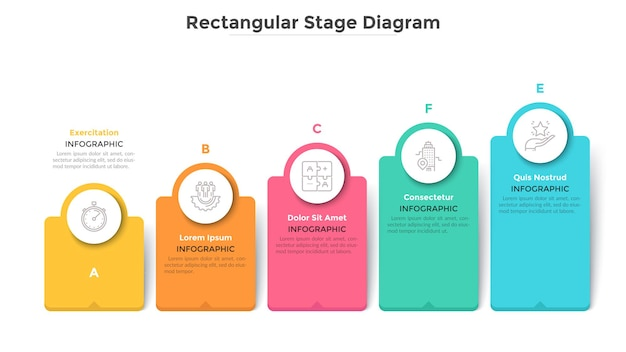 Gráfico de barras com 5 elementos retangulares coloridos ou colunas. tendência crescente com cinco estágios, progresso de negócios e visualização de crescimento. modelo de design moderno infográfico. ilustração em vetor plana.