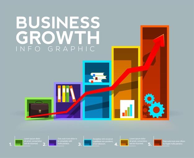 Gráfico de barras com seta parece prateleiras de escritório e conceito de crescimento de negócios gráfico de informações de negócios