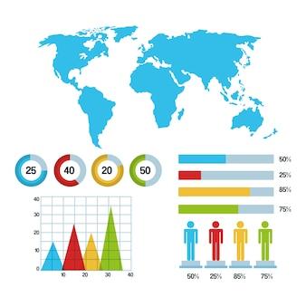 Gráfico de barras de gráficos demográficos infográficos do mapa mundial