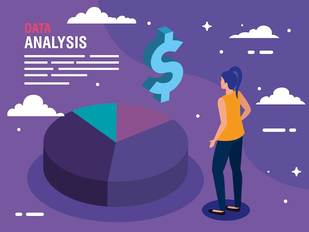 Gráfico de bolo de análise de dados ícone de dólar e design de mulher, tema de informação