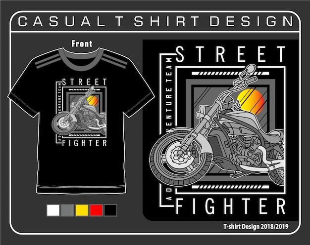 Gráfico de camisa de t de lutador de rua