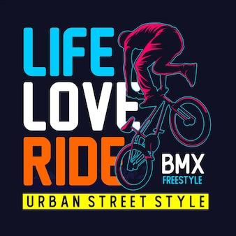 Gráfico de camiseta de passeio de bicicleta de vida amorosa