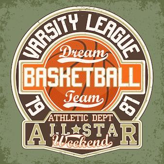 Gráfico de camiseta vintage, carimbo com estampa grange, emblema de tipografia de basquete, logotipo de esportes