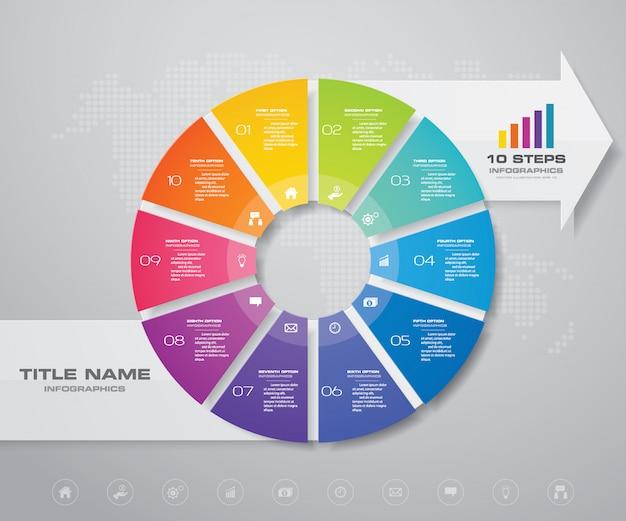 Gráfico de círculo com elemento de design seta infográfico.