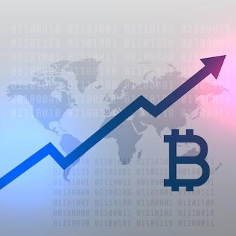 Gráfico de crescimento ascendente para design de vetor de moeda bitcoin