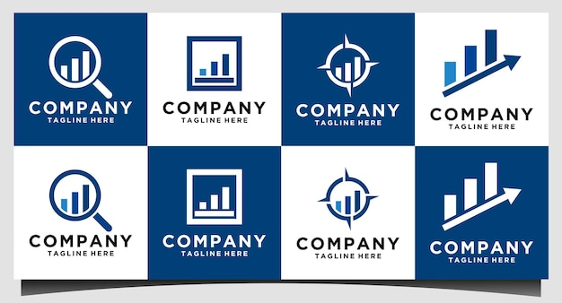 Gráfico de crescimento com lupa ilustração em vetor design de logotipo de diagrama de crescimento. conceito de negócios