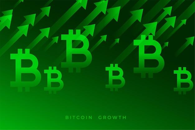 Gráfico de crescimento de bitcoin com setas verdes para cima