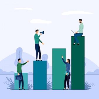 Gráfico de crescimento de carreira de negócios, ilustração do conceito de negócio