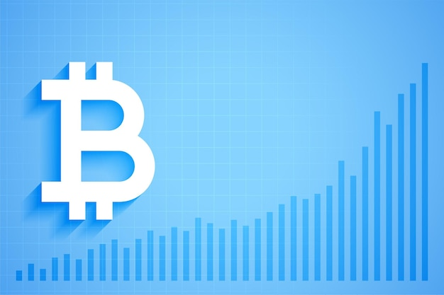Gráfico de crescimento de criptomoeda digital bitcoin
