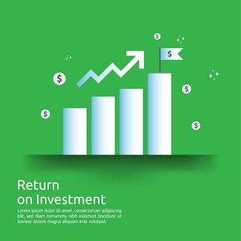 Gráfico de crescimento de negócios e gráfico de setas aumentam para o sucesso. retorno sobre o retorno do investimento ou aumente o lucro.