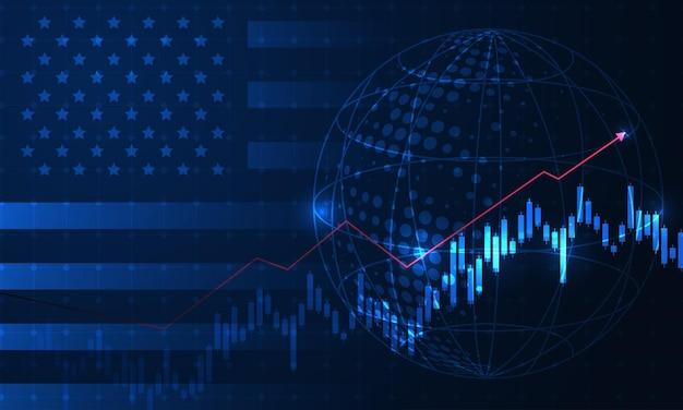 Gráfico de crescimento no contexto do gráfico de velas da bandeira dos eua e américa bolsa do mercado de ações