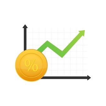 Gráfico de crescimento percentual. símbolo de porcentagem de crédito