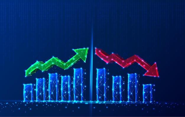 Gráfico de crescimento poligonal de tecnologia com setas vermelhas e verdes para cima e para baixo e gráficos