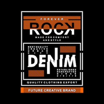Gráfico de denim rock focada em design de camisa de t