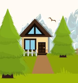 Gráfico de desenho animado de paisagem em casa