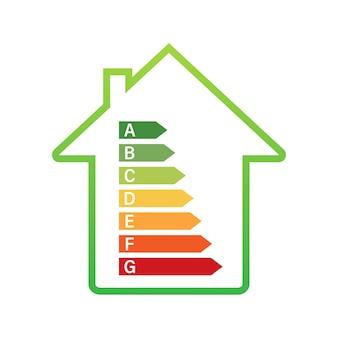 Gráfico de eficiência energética e conceito de casa. vetor de ícone para casa. energia solar. casa verde. ilustração de estoque vetorial