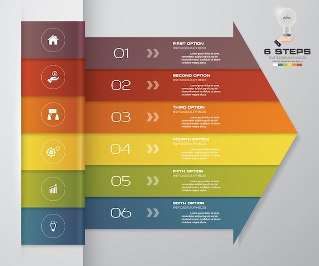 Gráfico de elemento de infográficos de seta de 6 passos.