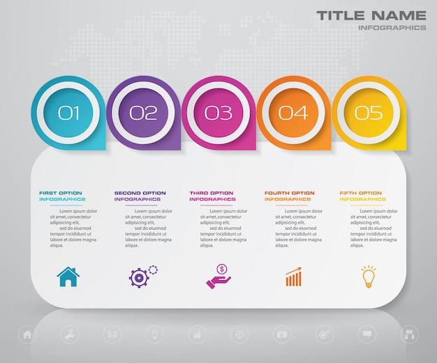 Gráfico de elemento infográfico de etapas.