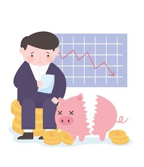 Gráfico de empresário de falência, estoque cai ofício moedas cofrinho negócios crise financeira