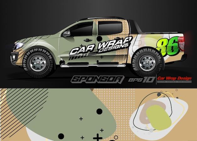 Gráfico de envoltório de carro corrida abstrata tira e plano de fundo para envoltório de carro e adesivo de vinil - vetor