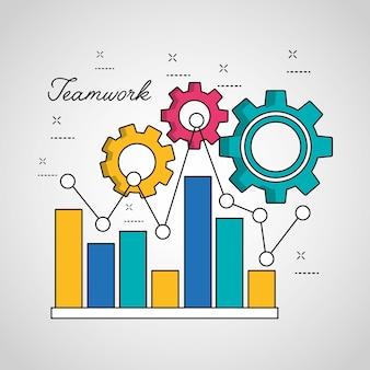 Gráfico de estatísticas de trabalho em equipe barra linha pontiaguda engrenagens de conexão