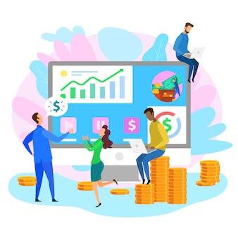 Gráfico de estratégia comercial de pessoas de desenhos animados de escritório