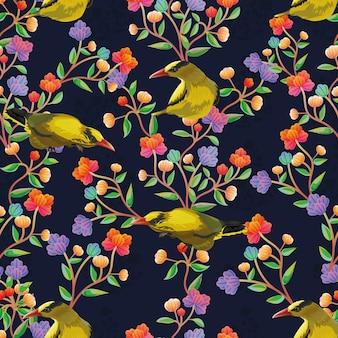 Gráfico de flores e padrão sem emenda de pássaro amarelo.