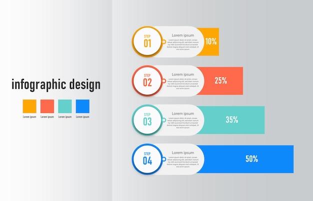 Gráfico de fluxo de trabalho do infográfico de etapas, número do processo de infográfico, gráfico de etapas com ícones de linha informações