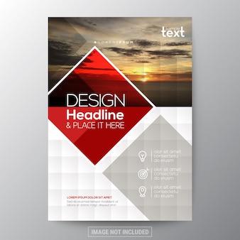 Gráfico de forma de diamante vermelho folheto da capa do relatório anual folheto modelo do cartaz molde de layout