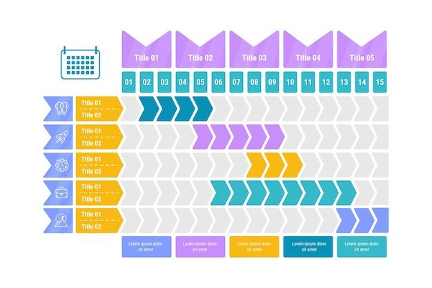 Gráfico de gantt em design plano