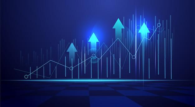 Gráfico de gráfico de negócios vela vara de negociação de investimento no mercado de ações sobre fundo azul. ponto de alta, tendência do gráfico.