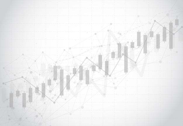 Gráfico de gráfico de vara de vela de negócios de negociação de investimento do mercado de ações em fundo escuro de