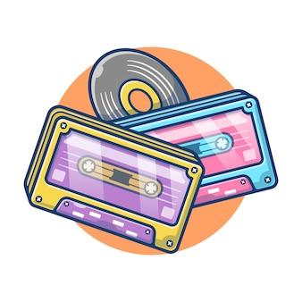 Gráfico de ilustração de cassette tape vintage. conceito de gravação de áudio em cassete. estilo de desenho plano