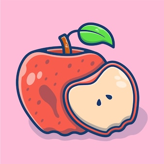 Gráfico de ilustração de fatia de fruta fresca de maçã. conceito de ícone de fruta fresca. estilo de desenho plano