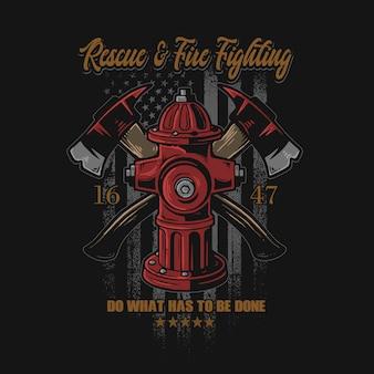 Gráfico de ilustração de símbolo de combate a incêndio americano