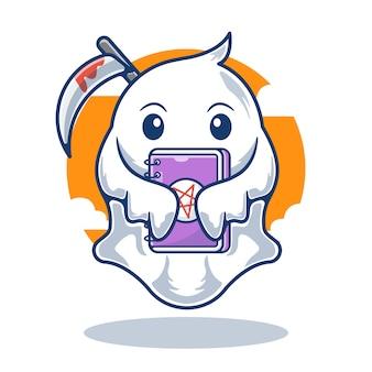 Gráfico de ilustração do livro mascote cute ghost segurando uma foice