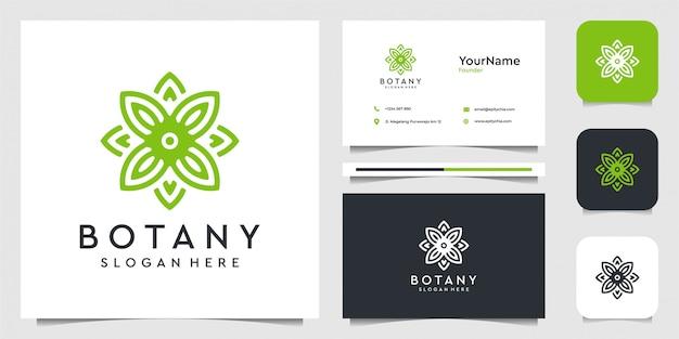 Gráfico de ilustração do logotipo da folha em estilo de linha de arte. terno para spa, flores, decoração, plantas, verde, botânica, publicidade, marca e cartão de visita
