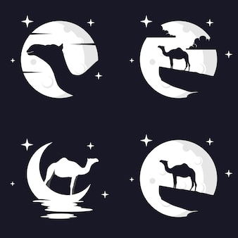 Gráfico de ilustração vetorial de camelo com fundo de lua. perfeito para usar em camisetas ou eventos