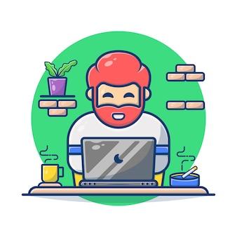 Gráfico de ilustração vetorial de homem com barba, trabalhando no laptop e café, cigarro.
