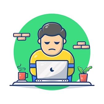 Gráfico de ilustração vetorial de homem trabalhando no laptop com café.