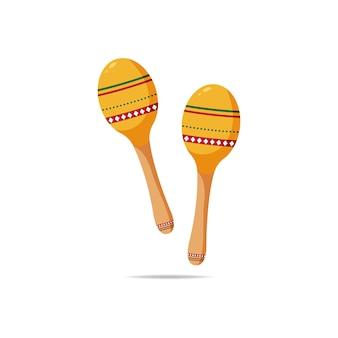 Gráfico de ilustração vetorial de set maracas for cinco de mayo, viva mexico e outro ícone musical de instrumento tropical de evento Vetor Premium