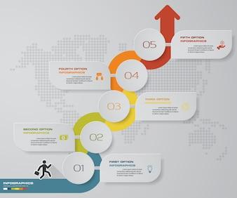 Gráfico de infográficos de seta de 5 passos. EPS 10