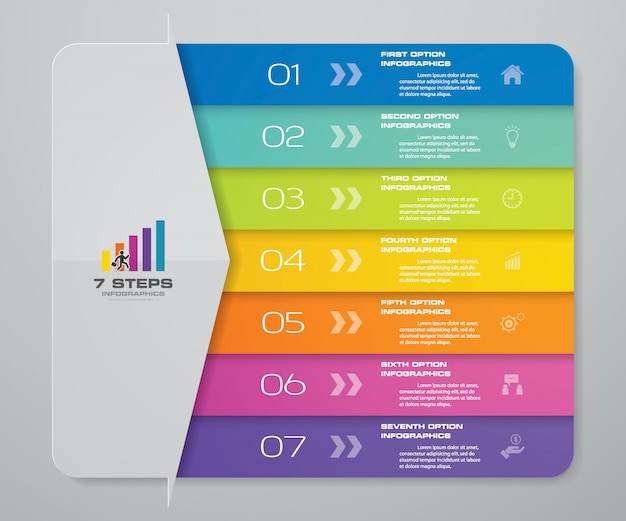 Gráfico de infográficos de seta de passos para apresentação.