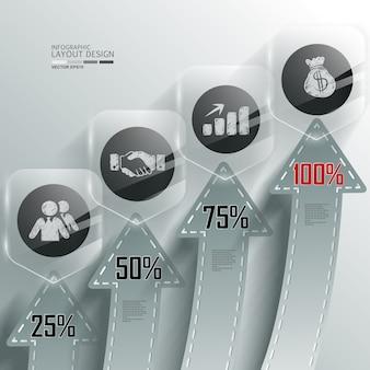 Gráfico de informação de negócios com número de passo e informação