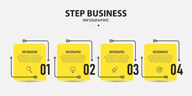 Gráfico de informações de negócios, etapas da linha do tempo, design de modelo de gráficos de informações