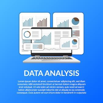 Gráfico de laptop de tela 3d, diagrama, barra, infográfico para análise de dados
